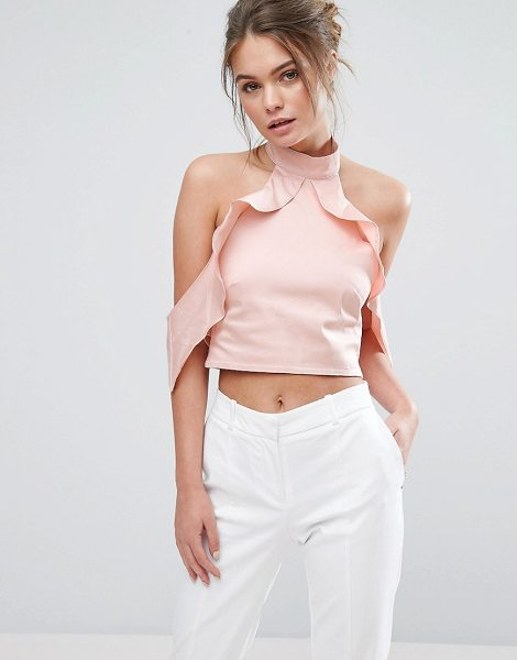 True Violet Frill High Neck Crop Top in pink - Top by True Violet, Woven fabric, High neck,...
