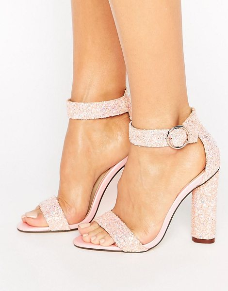 Truffle Collection Barely There Heel Sandal in pink - Shoes by Truffle, Textile upper, Ankle-strap fastening,...
