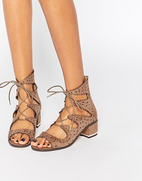 Truffle Collection Adley ghillie bootie heeled sandals in beige
