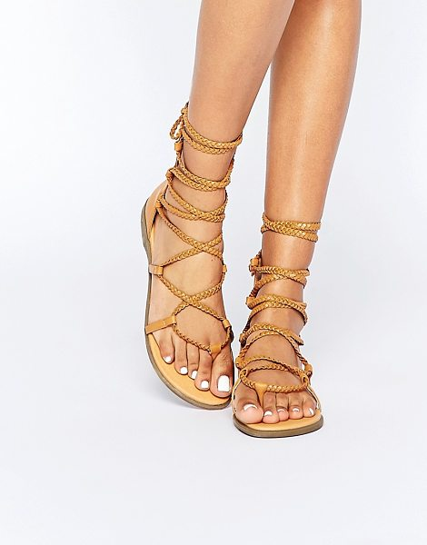 TRUFFLE COLLECTION Beryl Tie Plaited Flat Sandals - Shoes by Truffle Collection, Faux-leather upper, Lace-up...