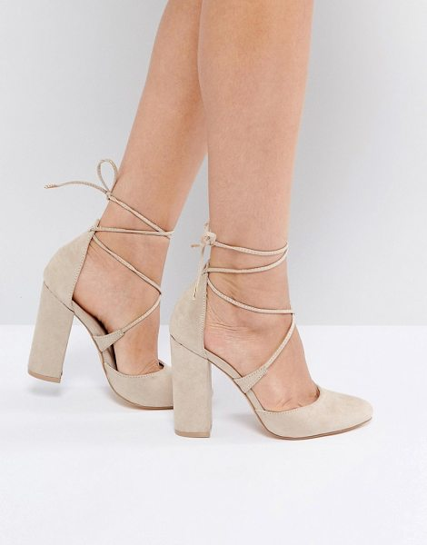 Truffle Collection Block Point High Heels in beige - Shoes by Truffle, Faux-suede upper, Ankle-tie fastening,...