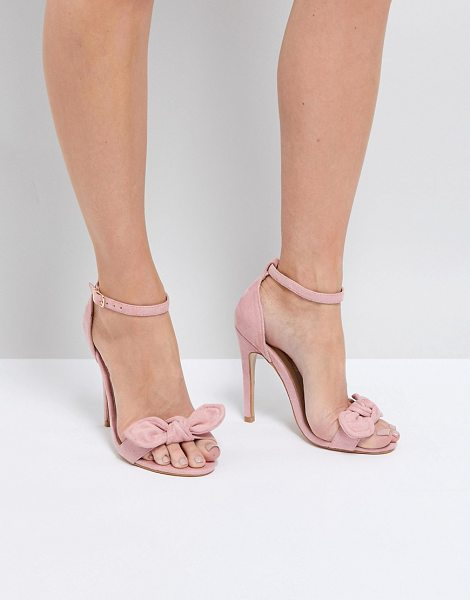 TRUFFLE COLLECTION Bow Heeled Sandals in dustypinkmicro - Shoes by Truffle Collection, Open toe, Show off your...