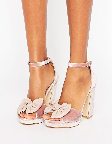 Truffle Collection Bow Trim Velvet Platform Sandal in beige
