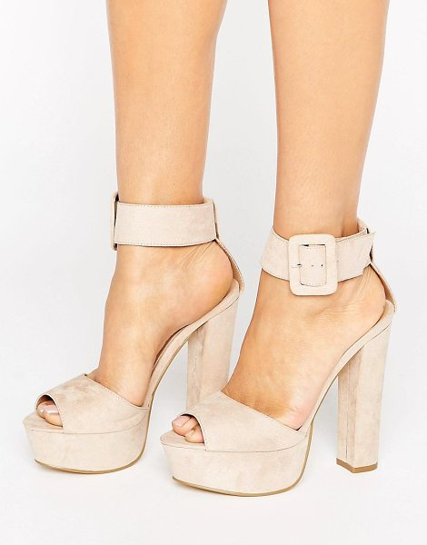 "Truffle Collection Buckle Trim Platform Sandal in beige - """"Shoes by Truffle, Faux-suede upper, Ankle-strap..."