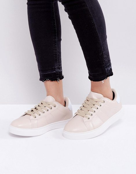 Truffle Collection Clean Contrast Sole Sneakers in beige - Shoes by Truffle, Faux-leather upper, Lace-up fastening,...