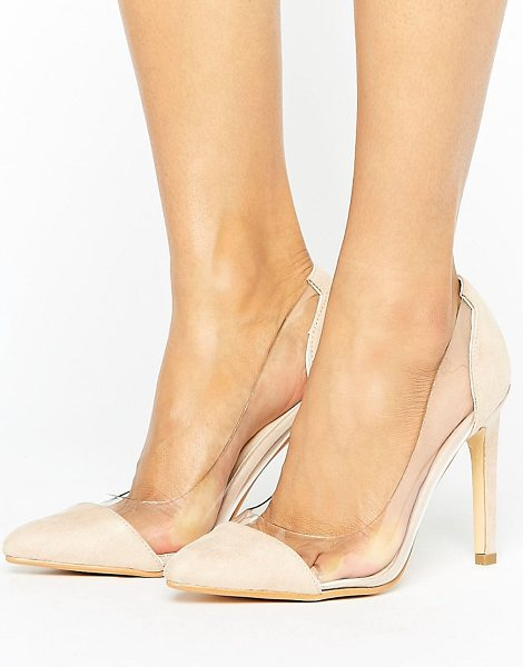 """Truffle Collection Clear Upper Heel Shoe in beige - """"""""Shoes by Truffle, Faux-suede upper, Slip-on style,..."""