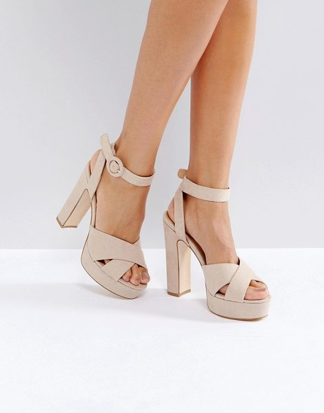 Truffle Collection Cross Strap Platform Sandals in beige - Shoes by Truffle, Textile upper, Ankle-strap fastening,...