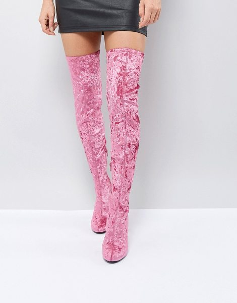TRUFFLE COLLECTION Crushed Velvet Over The Knee Boot - Shoes by Truffle Collection, Crushed velvet upper, Round...