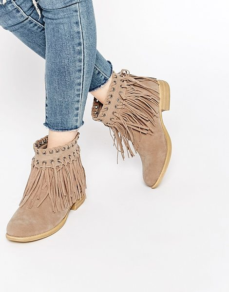 Truffle Collection Frolly Fringe Ankle Boots in beige - Shoes by Truffle Collection, Suede-look upper, Slip-on...