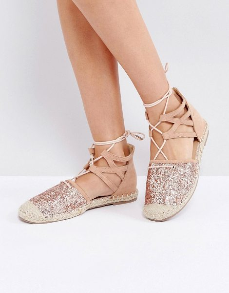 Truffle Collection Glitter Lace Up Espadrille in gold - Shoes by Truffle Collection, Faux-suede upper, Glitter...