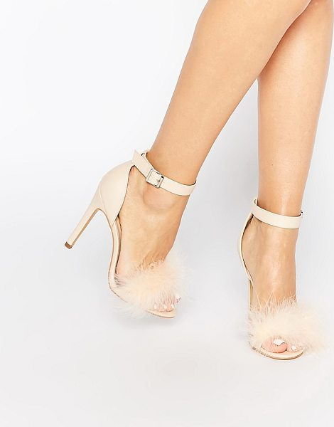 Truffle Collection Helen fluffy barely there heeled sandals in nude - Shoes by Truffle Faux leather upper Barely there style...