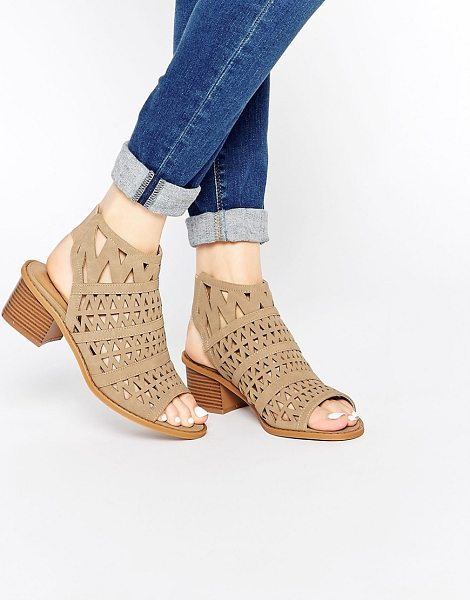Truffle Collection Honor Laser Cut Sling Bootee Heeled Sandals in beige