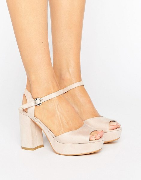 Truffle Collection Kitten heel Platform Sandals in nudemicro - Shoes by Truffle, Faux-suede upper, Ankle-strap...