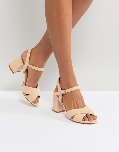 Truffle Collection block heel sandal in nudemicro - Shoes by Truffle, Ankle-strap fastening, Wide cross...