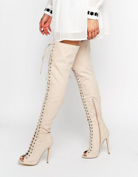 Truffle Collection Lace Up Ghillie Over The Knee Boots in pink - Shoes by Truffle, Faux leather upper, Over-the-knee...