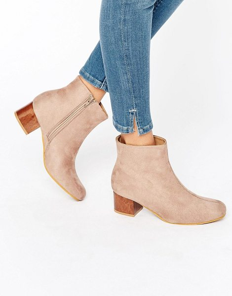 Truffle Collection Luan Tortoiseshell Mid Heeled Ankle Boots in beige - Shoes by Truffle Collection, Faux-suede upper, Side-zip...