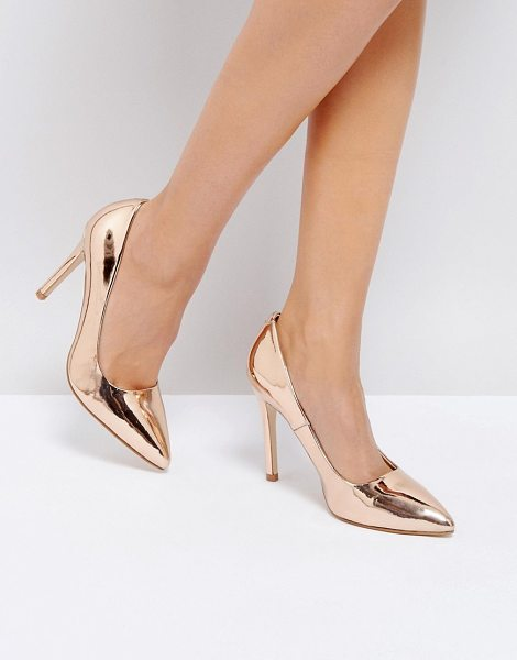 Truffle Collection Metallic Point High Heels in highshinerosegold - Shoes by Truffle Collection, High shine upper, Slip on...