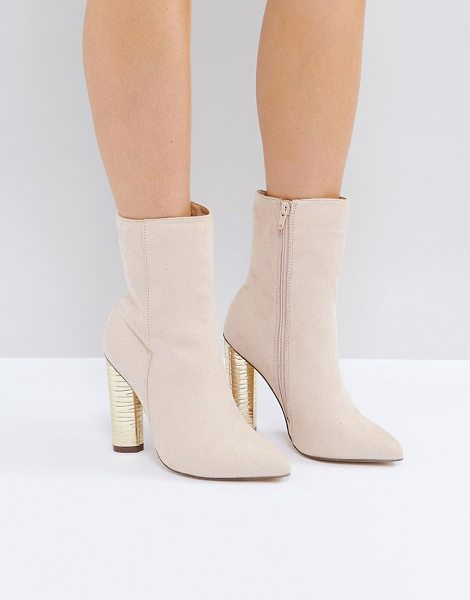 Truffle Collection Metallic Heeled Ankle Boots in pink - Shoes by Truffle, Faux-suede upper, Side-zip fastening,...
