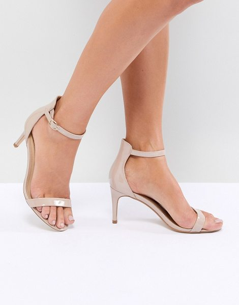 Truffle Collection mid barely there heeled sandals in nudepatent - Shoes by Truffle Collection, Ankle-strap fastening, Open...