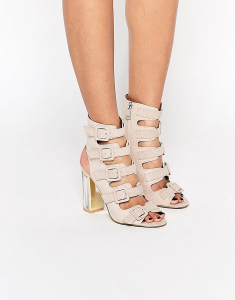 Truffle Collection Multi Buckle High Heeled Sandal in cream - Shoes by Truffle, Faux suede upper, Side zip opening,...
