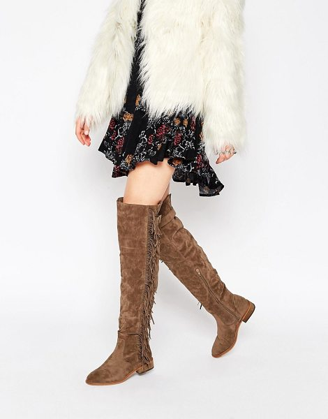 TRUFFLE COLLECTION Orla Fringe Over The Knee Boots - Shoes by Truffle Collection, Suede-look upper,...