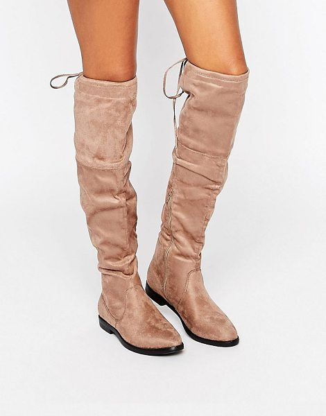Truffle Collection Over The Knee Flat Boots in beige - Shoes by Truffle, Textile upper, Side zip fastening,...