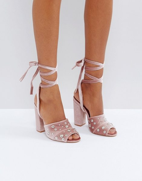 Truffle Collection Pearl Stud Heeled Sandals in beige - Shoes by Truffle Collection, Textile upper, Ankle-strap...