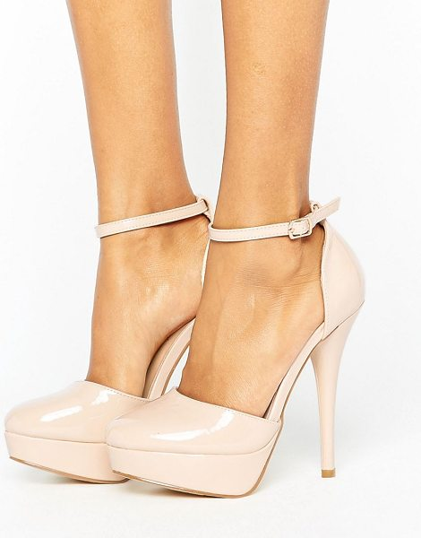 Truffle Collection Platform Shoe in beige - Shoes by Truffle, Faux leather upper, Patent finish,...