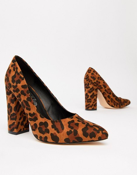 Truffle Collection pointed block heels in leopardmicro - Shoes by Truffle, Leopard-effect design, Lead the style...