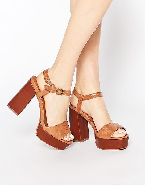 Truffle Collection Regan Platform Heeled Sandals in brown