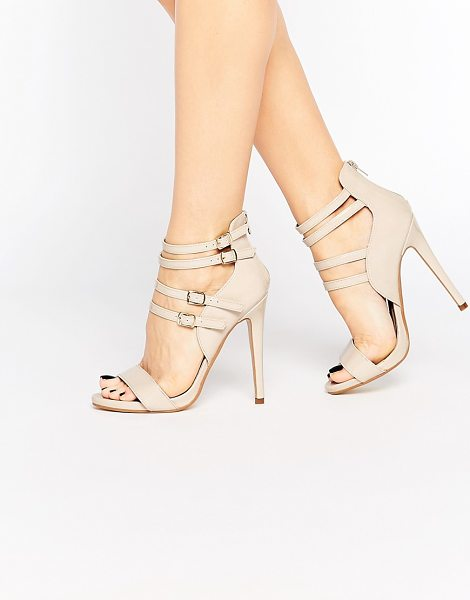 Truffle Collection Rita Strappy Heeled Sandals in beige - Shoes by Truffle Collection, Patent, leather-look upper,...