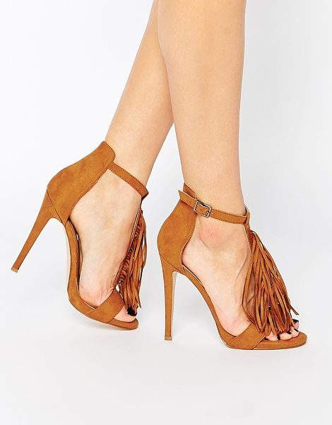 Truffle Collection Rita Tassel Heeled Sandals in tan - Shoes by Truffle Collection, Suede-look upper, Pin...
