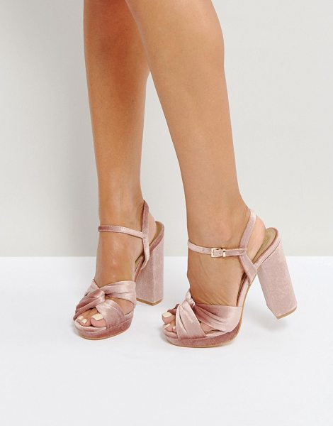 "TRUFFLE COLLECTION Soft Knot Front Platform Sandals - """"Sandals by Truffle, Velvet upper, Ankle-strap..."