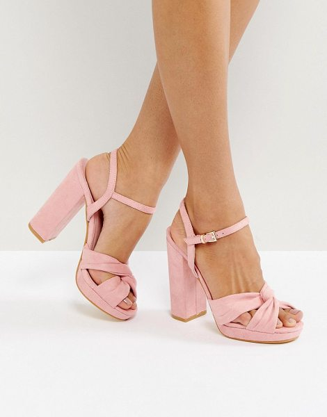 Truffle Collection Soft Knot Front Platform Sandal in pink - Shoes by Truffle, Faux-suede upper, Knot front,...