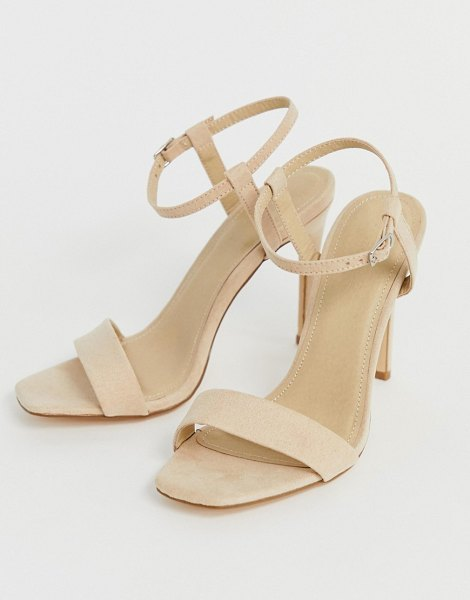 Truffle Collection stiletto barely there square toe heeled sandals in beige