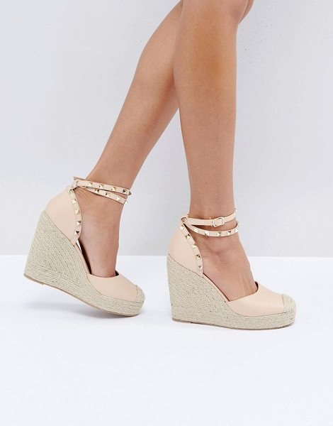 Truffle Collection Studded Ankle Strap Heeled Espadrilles in beige - Heels by Truffle, Faux-leather upper, Ankle-strap...