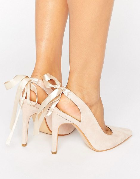"Truffle Collection Tie Ankle Heeled Court Shoe in beige - """"Shoes by Truffle, Faux-suede upper, Ankle-strap..."