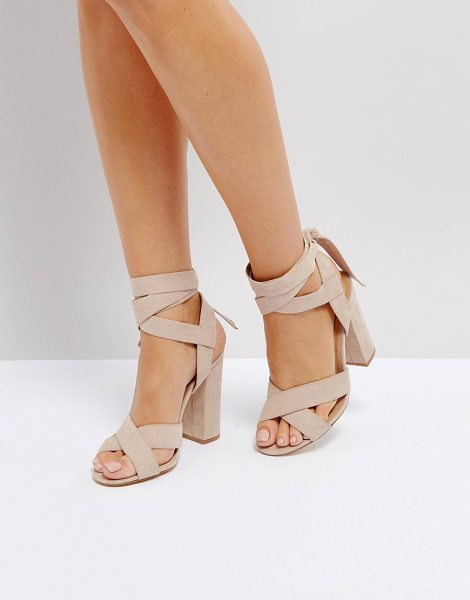 """Truffle Collection tie up block heeled sandal in nude - """"""""Shoes by Truffle Collection, Faux-suede upper,..."""
