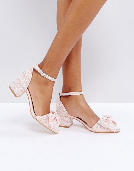 "Truffle Collection Bow Kitten heel Shoe in pink - """"Heels by Truffle, Textile upper, Glitter finish, Bow..."