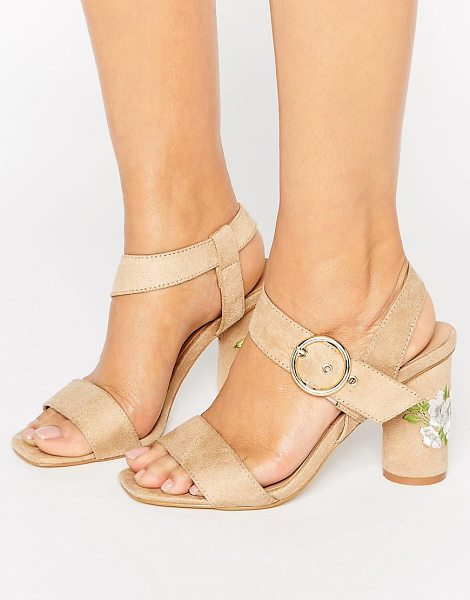 Truffle Collection Truffle Colleciton Embroidery Heel Sandal in beige - Sandals by Truffle, Textile upper, Ankle-strap...