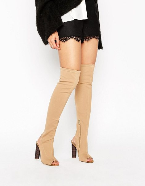 TRUFFLE COLLECTION Truffle Peep Toe Over The Knee Boot - Shoes by Truffle, Faux-leather upper, Side zip...