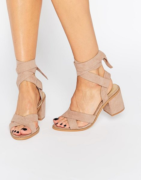 Truffle Collection Tie Ankle Kitten heel Sandals in beige - Heels by Truffle, Faux suede upper, Ankle tie-around...