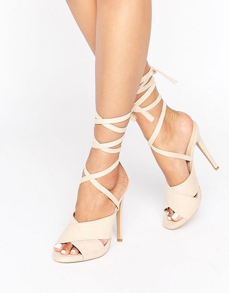 "Truffle Collection Tie Ankle Rita Heeled Sandals in nudemicro - """"Shoes by Truffle, Textile upper, Tie ankle-strap..."