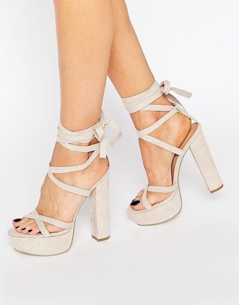 "Truffle Collection Truffle Tie Up Block Heel Sandal in beige - """"Heels by Truffle, Faux suede upper, Ankle tie-around..."