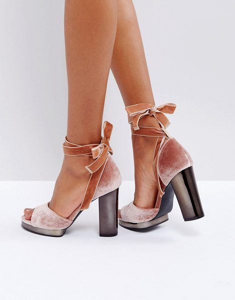 "Truffle Collection Tie Up Slim Platform Sandal in nudemicro - """"Sandals by Truffle, Textile upper, Tie fastening, Peep..."