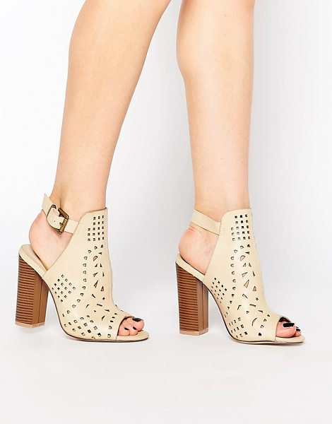 Truffle Collection Vela Cut Out Heeled Sandals in beige - Shoes by Truffle Collection, Leather-look upper, Peep...