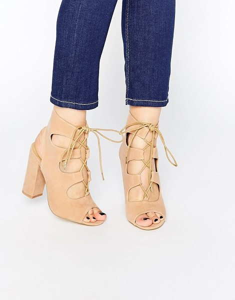 Truffle Collection Vela ghillie block heeled sandals in nude mf