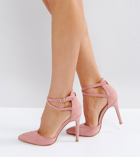 Truffle Collection Wide Fit Bow Trim Court Shoe Heels in pink - Shoes by Truffle, Textile upper, Ankle-strap fastening,...