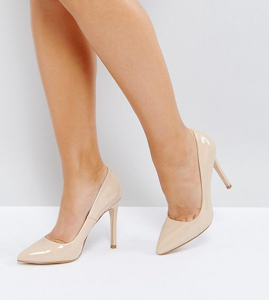 Truffle Collection Wide Fit Heel Court Shoe in beige - Heels by Truffle Collection, Faux-leather upper,...