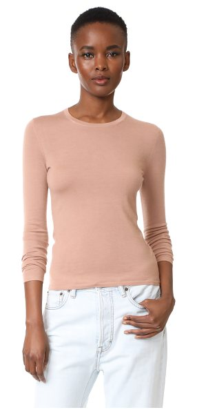 TSE Cashmere long sleeve crew neck sweater in clay - A crew-neck TSE Cashmere sweater with fine-ribbed edges....
